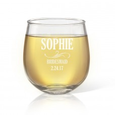 Bridesmaid Engraved Stemless Wine Glass