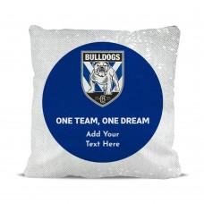 NRL Bulldogs Magic Sequin Cushion Cover
