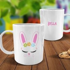 Bunny Face White Plastic Mug