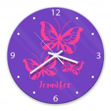 Butterflies Glass Wall Clock