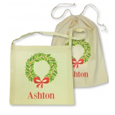 Christmas Wreath Library Bag
