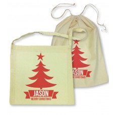 Red Christmas Tree Library Bag