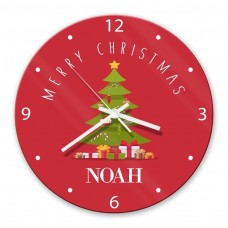 Christmas Tree Glass Wall Clock