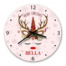 Christmas Unicorn Glass Wall Clock