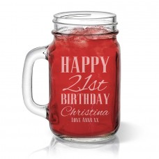 Classic Happy Birthday Mason Jar