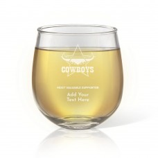 NRL Cowboys Engraved Stemless Wine Glass