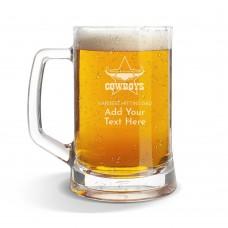 NRL Cowboys Glass Beer Mug