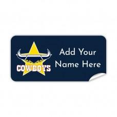 NRL Cowboys Rectangle Name Label