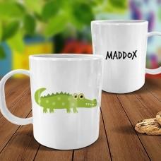 Crocodile White Plastic Mug