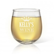Crown Engraved Stemless Wine Glass