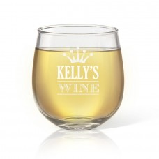 Crown Design Engraved Stemless Wine Glass