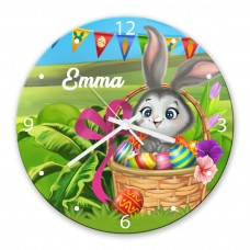 Easter Bunny Glass Wall Clock