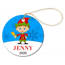 Elf Round Porcelain Ornament