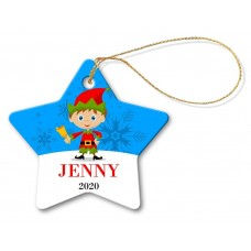 Elf Porcelain Christmas Star Ornament