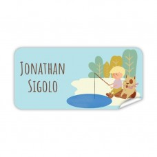My Adventure - Fishing Boy Rectangle Name Label