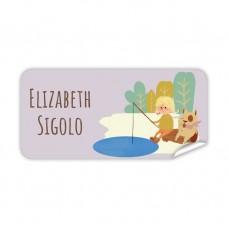 My Adventure - Fishing Girl Rectangle Name Label