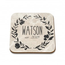 Flower Wreath Square Coaster