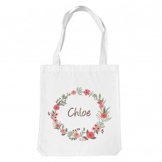 Flower Wreath White Tote Bag