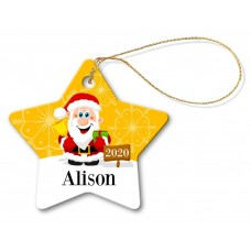 Happy Santa Porcelain Christmas Star Ornament