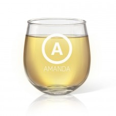 Initial Engraved Stemless Wine Glass