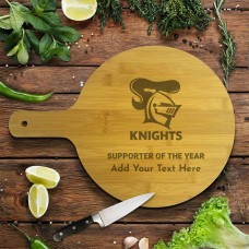 NRL Knights Round Bamboo Serving Board