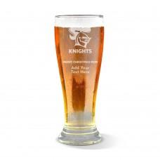 NRL Knights Christmas Premium Beer Glass