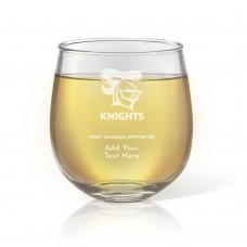 NRL Knights Stemless Wine Glass