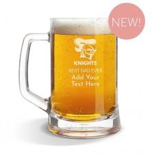 NRL Knights Glass Beer Mug
