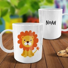 Lion White Plastic Mug
