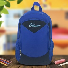 Embroidered Blue Backpack
