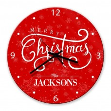 Merry Christmas Glass Wall Clock