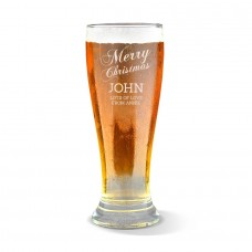 Merry Christmas Engraved Premium Beer Glass