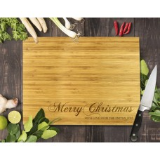 Merry Christmas Bamboo Cutting Board
