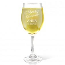 Merry Christmas Engraved Wine Glass