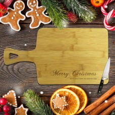 Merry Christmas Rectangle Bamboo Serving Board