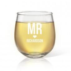 Mr Love Engraved Stemless Wine Glass