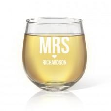 Mrs Love Stemless Wine Glass