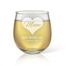 Mum in Heart Stemless Wine Glass