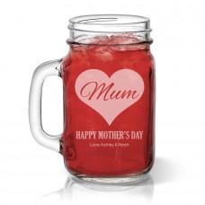 Mum in Heart Mason Jar