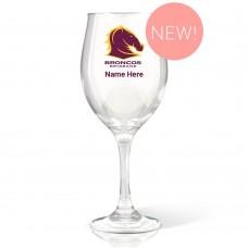 NRL Broncos Wine Glass
