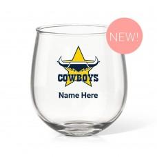 NRL Cowboys Stemless Wine Glass