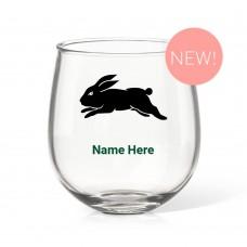 NRL Rabbitohs Stemless Wine Glass