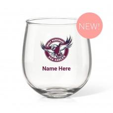 NRL Sea Eagles Stemless Wine Glass