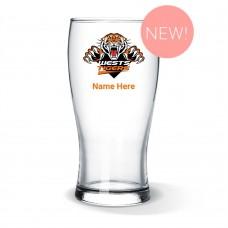 NRL Wests Tigers Standard Beer Glass