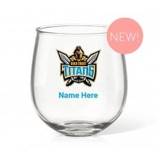 NRL Titans Stemless Wine Glass