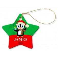 Penguin Porcelain Christmas Star Ornament