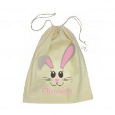 Pink Bunny Face Drawstring Bag