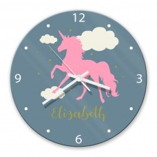 Pink Unicorn Glass Wall Clock