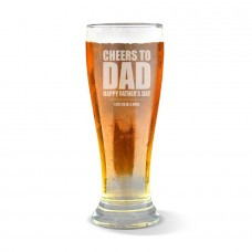 Cheers To Dad Engraved Premium Beer Glass