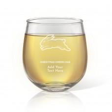 NRL Rabbitohs Christmas Stemless Wine Glass